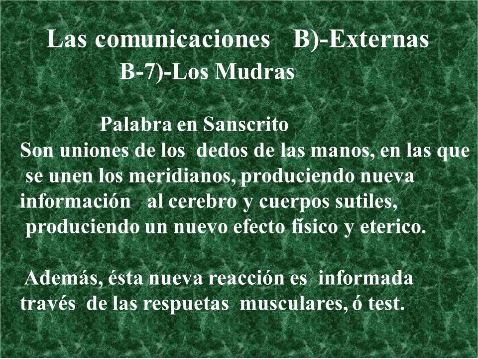 Las comunicaciones B)-Externas B-7)-Los Mudras Palabra en Sanscrito Son uniones de los dedos de las manos, en las que se unen los meridianos, producie
