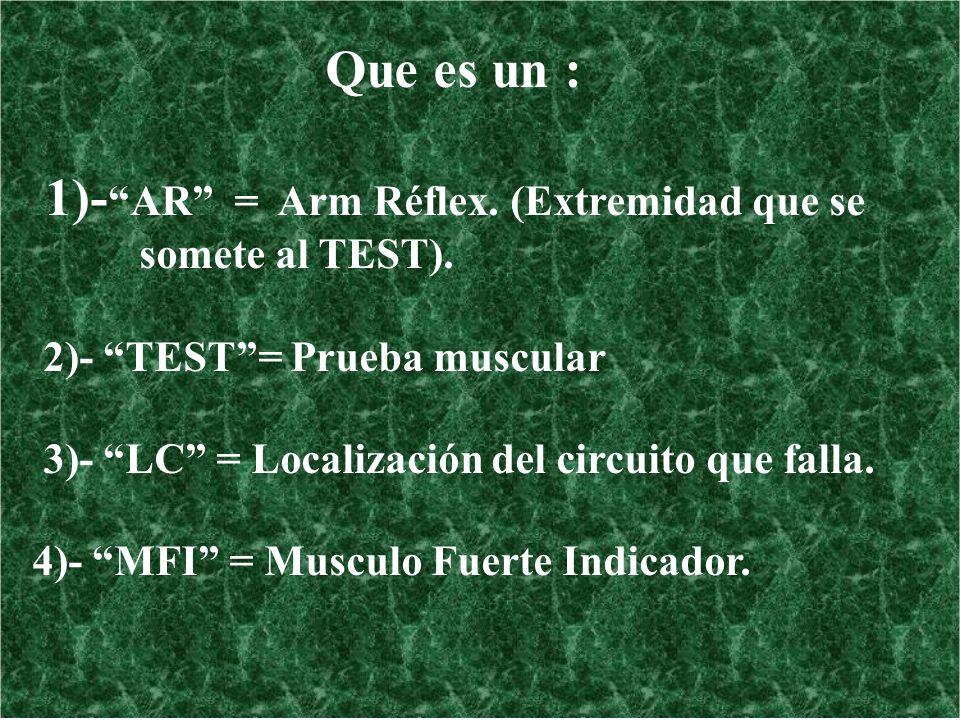 Que es un : 1)- AR = Arm Réflex. (Extremidad que se somete al TEST). 2)- TEST= Prueba muscular 3)- LC = Localización del circuito que falla. 4)- MFI =