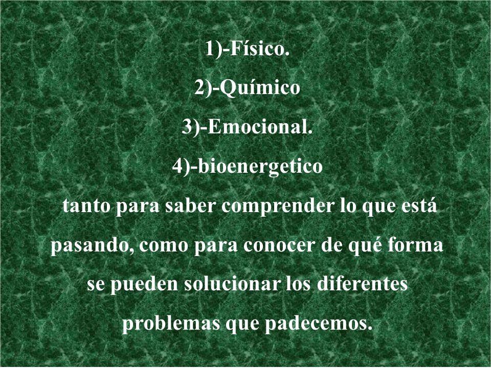 1)-Físico. 2)-Químico 3)-Emocional. 4)-bioenergetico tanto para saber comprender lo que está pasando, como para conocer de qué forma se pueden solucio