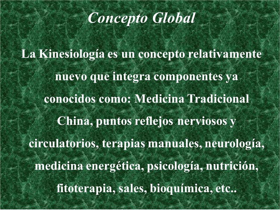 Concepto Global La Kinesiología es un concepto relativamente nuevo que integra componentes ya conocidos como: Medicina Tradicional China, puntos refle