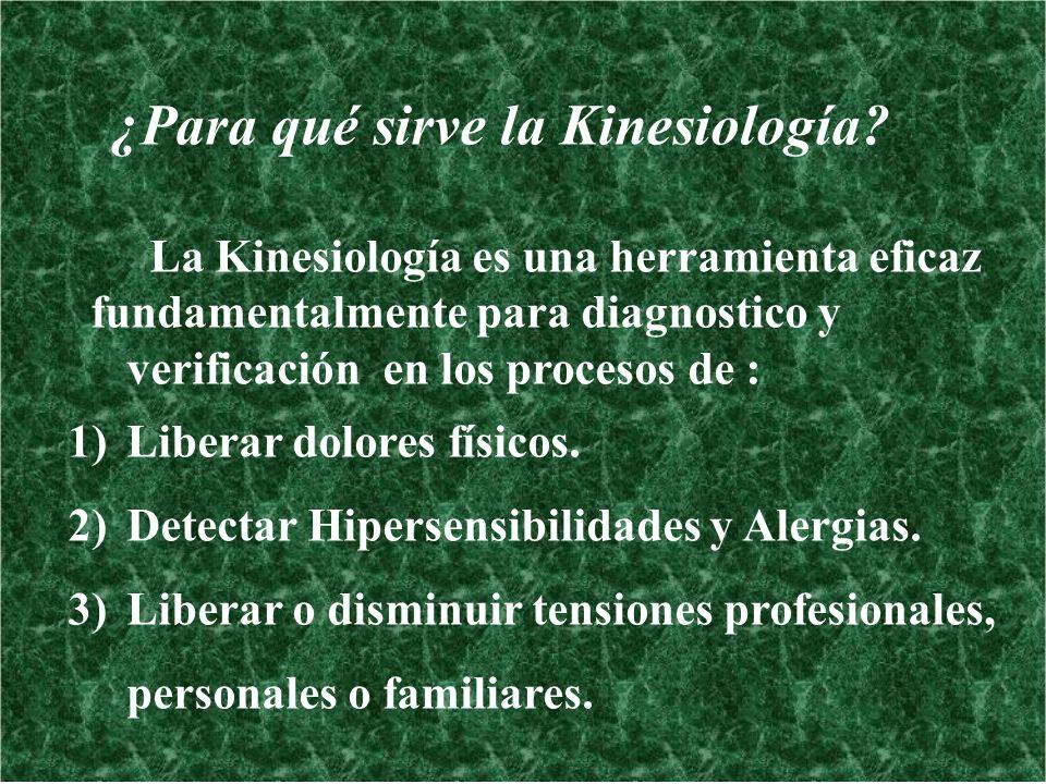 ¿Para qué sirve la Kinesiología? La Kinesiología es una herramienta eficaz fundamentalmente para diagnostico y verificación en los procesos de : 1)Lib