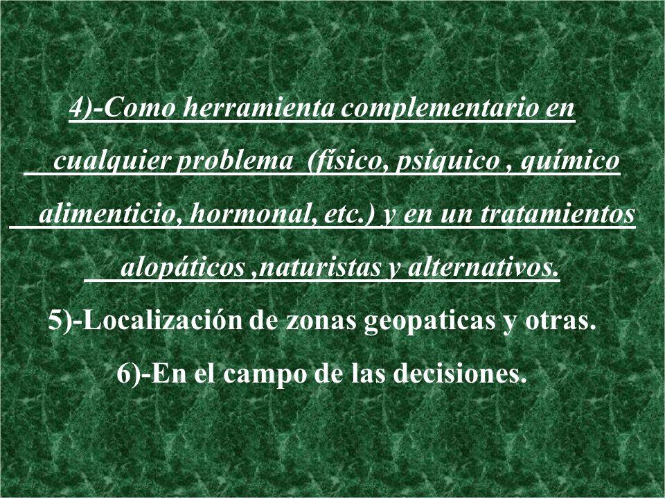 4)-Como herramienta complementario en cualquier problema (físico, psíquico, químico alimenticio, hormonal, etc.) y en un tratamientos alopáticos,natur