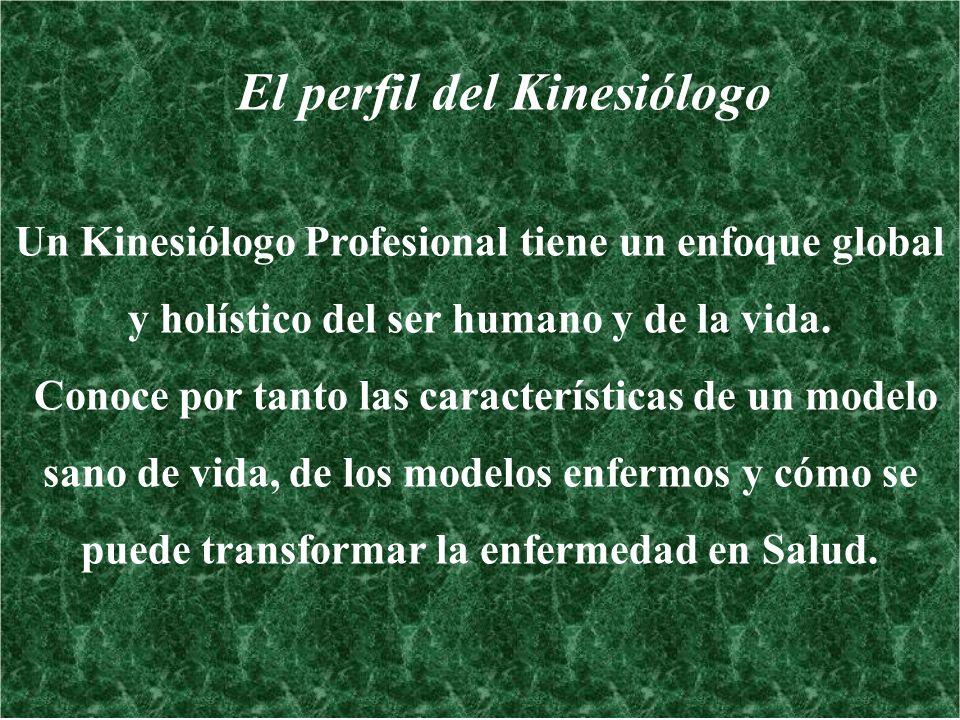 El perfil del Kinesiólogo Un Kinesiólogo Profesional tiene un enfoque global y holístico del ser humano y de la vida. Conoce por tanto las característ