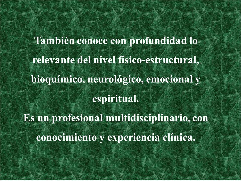También conoce con profundidad lo relevante del nivel físico-estructural, bioquímico, neurológico, emocional y espiritual. Es un profesional multidisc