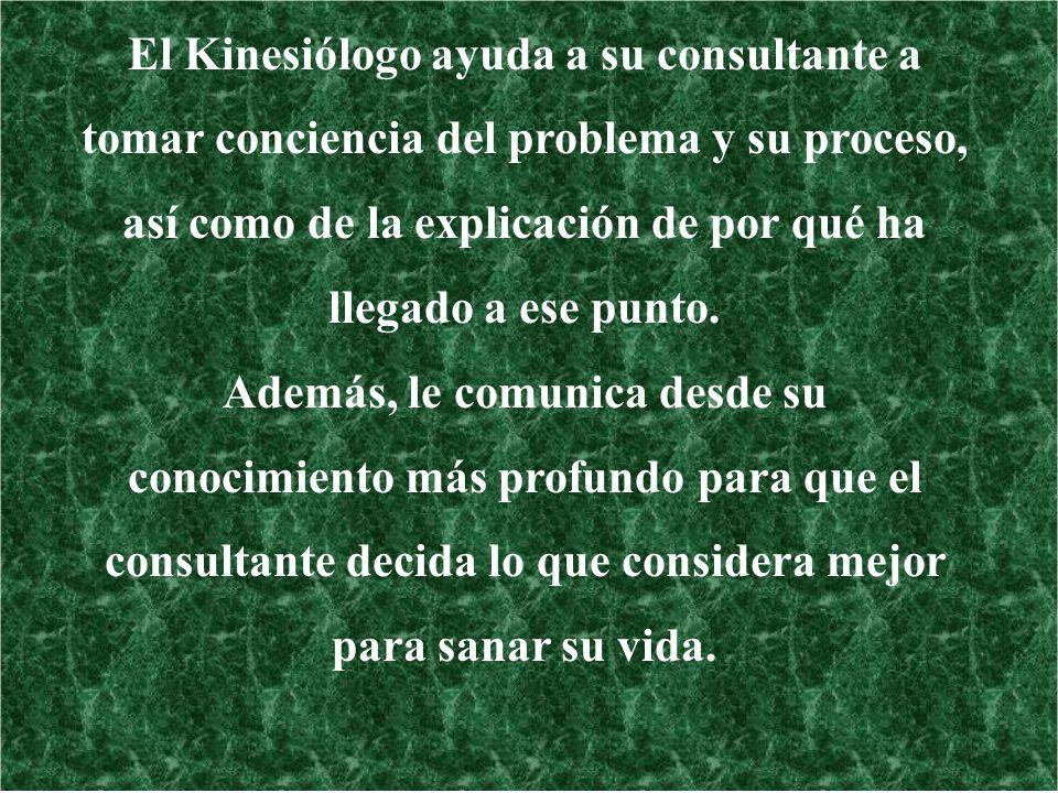 El Kinesiólogo ayuda a su consultante a tomar conciencia del problema y su proceso, así como de la explicación de por qué ha llegado a ese punto. Adem