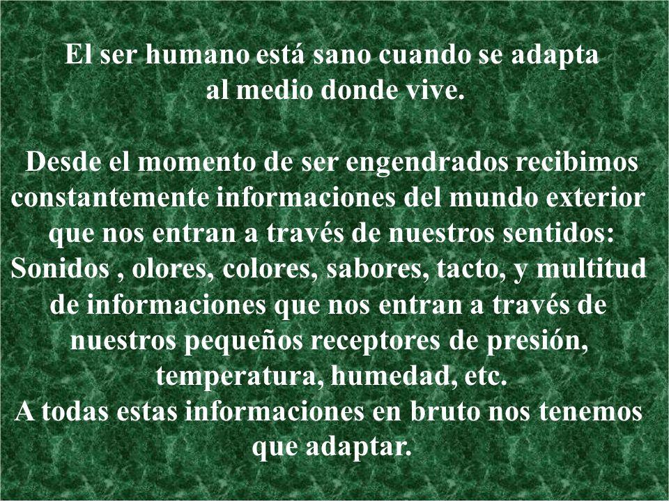 El ser humano está sano cuando se adapta al medio donde vive. Desde el momento de ser engendrados recibimos constantemente informaciones del mundo ext