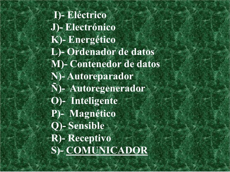 P)- Magnético Q)- Sensible R)- Receptivo S)- COMUNICADOR I)- Eléctrico J)- Electrónico K)- Energético L)- Ordenador de datos M)- Contenedor de datos N