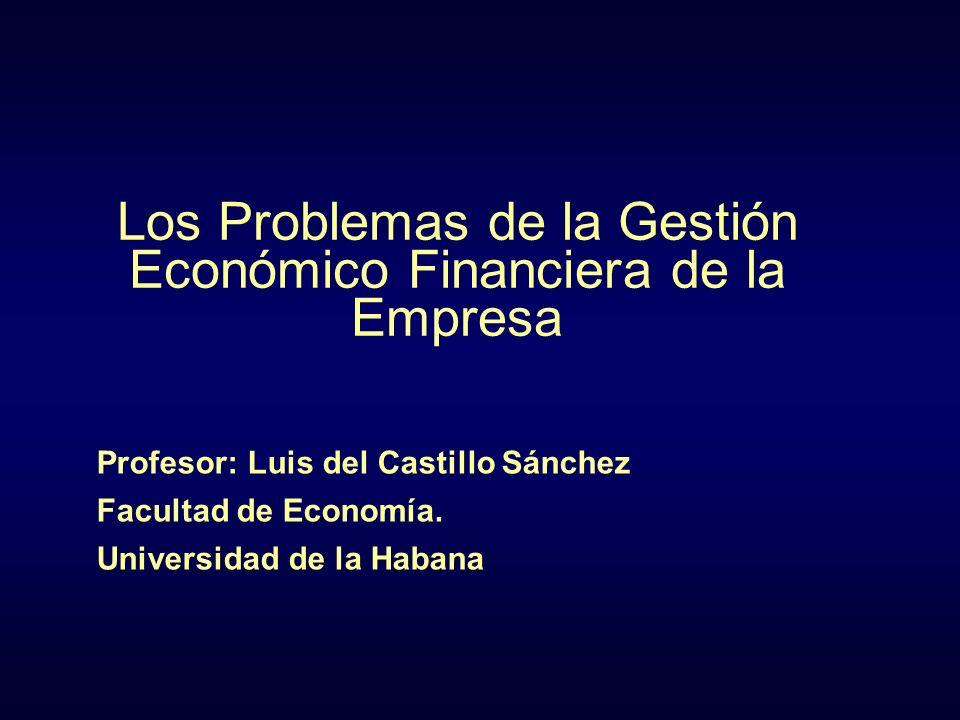 Los Problemas de la Gestión Económico Financiera de la Empresa Profesor: Luis del Castillo Sánchez Facultad de Economía. Universidad de la Habana
