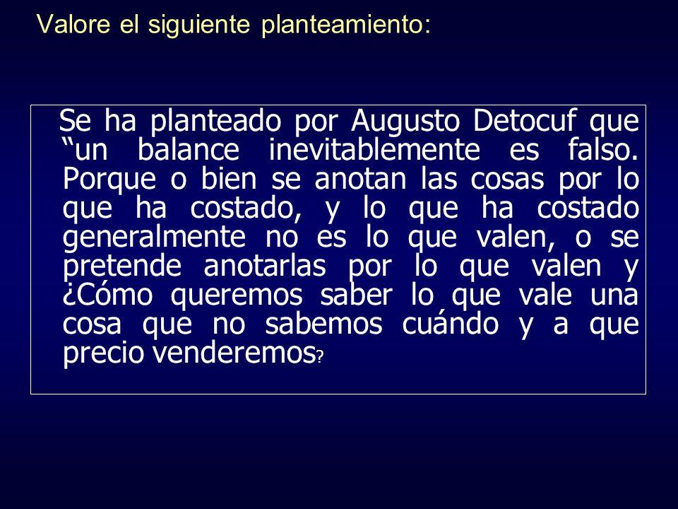 Valore el siguiente planteamiento: Se ha planteado por Augusto Detocuf que un balance inevitablemente es falso. Porque o bien se anotan las cosas por