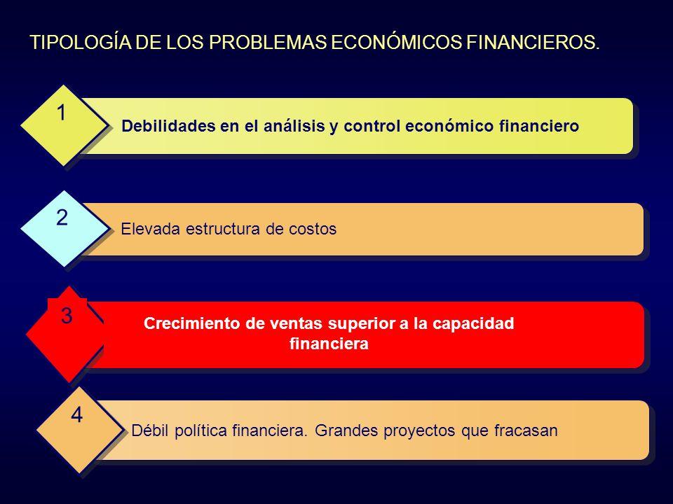 TIPOLOGÍA DE LOS PROBLEMAS ECONÓMICOS FINANCIEROS. Debilidades en el análisis y control económico financiero 1 Elevada estructura de costos 2 Crecimie