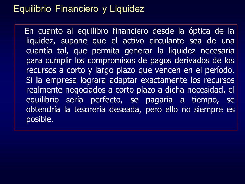 Equilibrio Financiero y Liquidez En cuanto al equilibro financiero desde la óptica de la liquidez, supone que el activo circulante sea de una cuantía