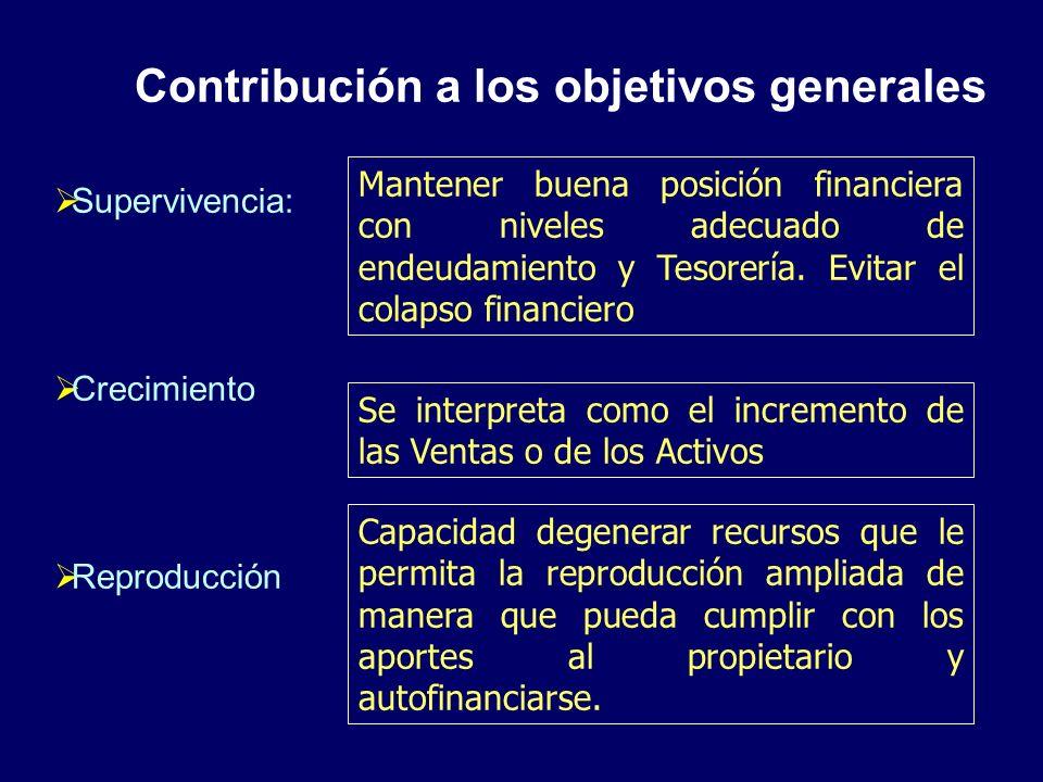 Contribución a los objetivos generales Supervivencia: Crecimiento Reproducción Mantener buena posición financiera con niveles adecuado de endeudamient