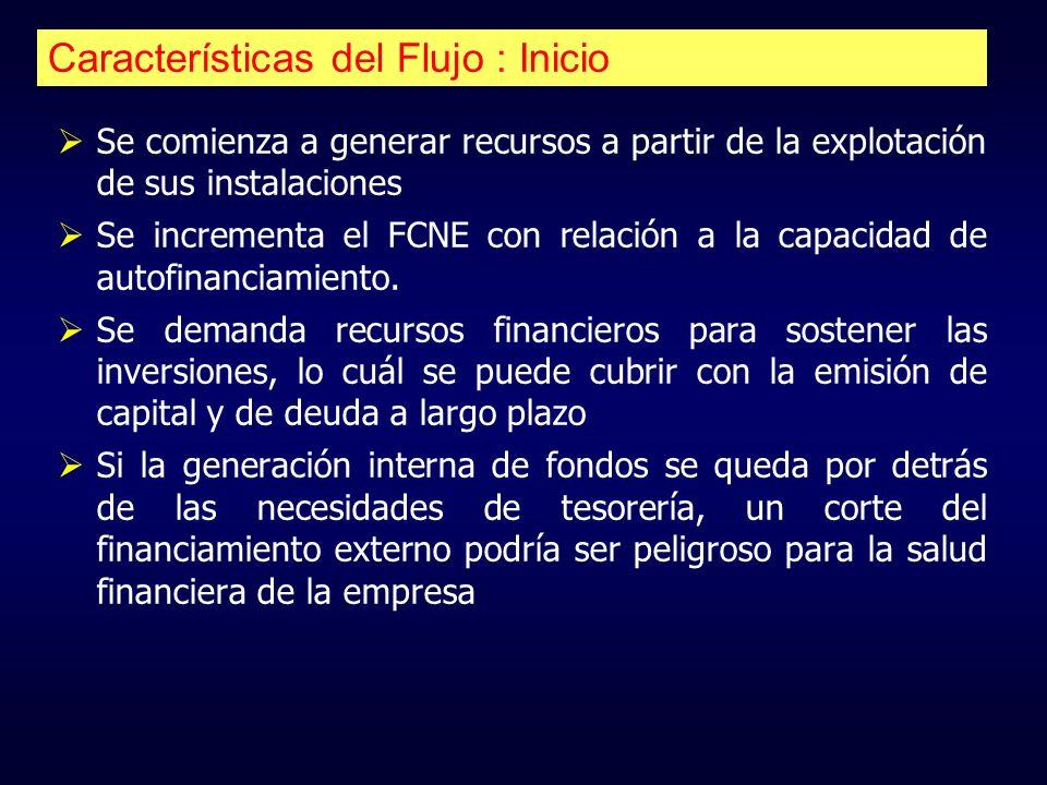 Características del Flujo : Inicio Se comienza a generar recursos a partir de la explotación de sus instalaciones Se incrementa el FCNE con relación a
