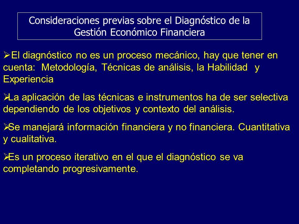 Consideraciones previas sobre el Diagnóstico de la Gestión Económico Financiera El diagnóstico no es un proceso mecánico, hay que tener en cuenta: Met