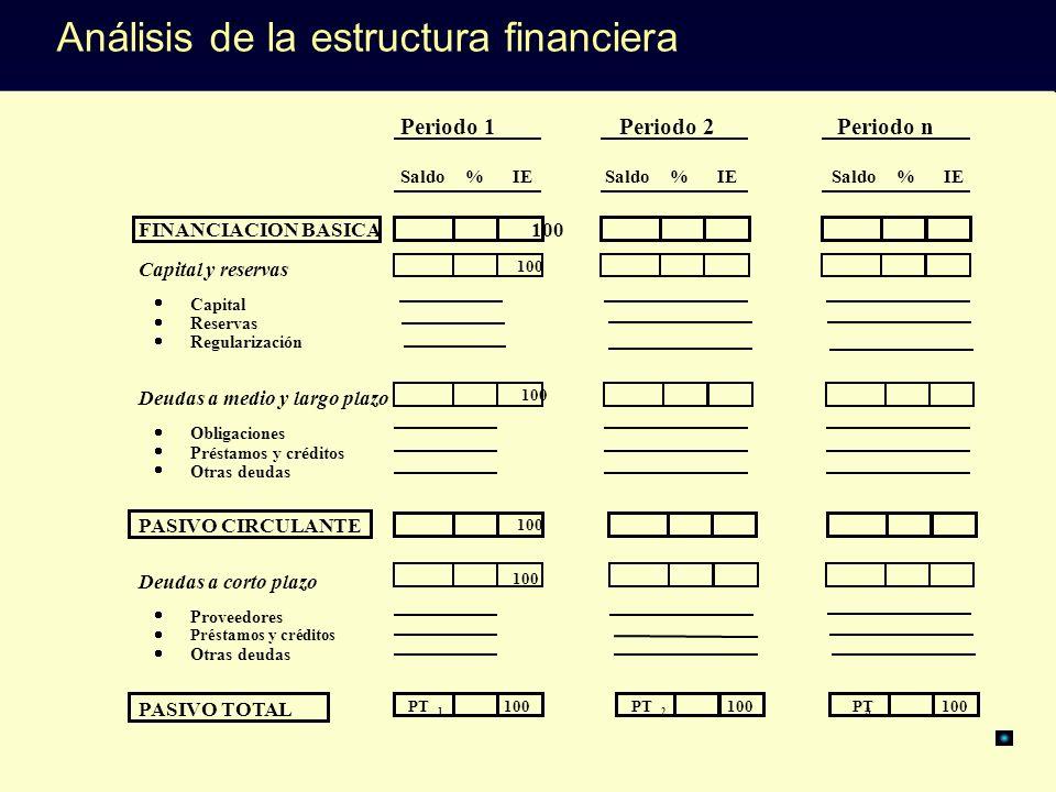Periodo 1Periodo 2Periodo n Saldo % IE FINANCIACION BASICA 100 Capital y reservas 100 Capital Reservas Regularización Deudas a medio y largo plazo 100