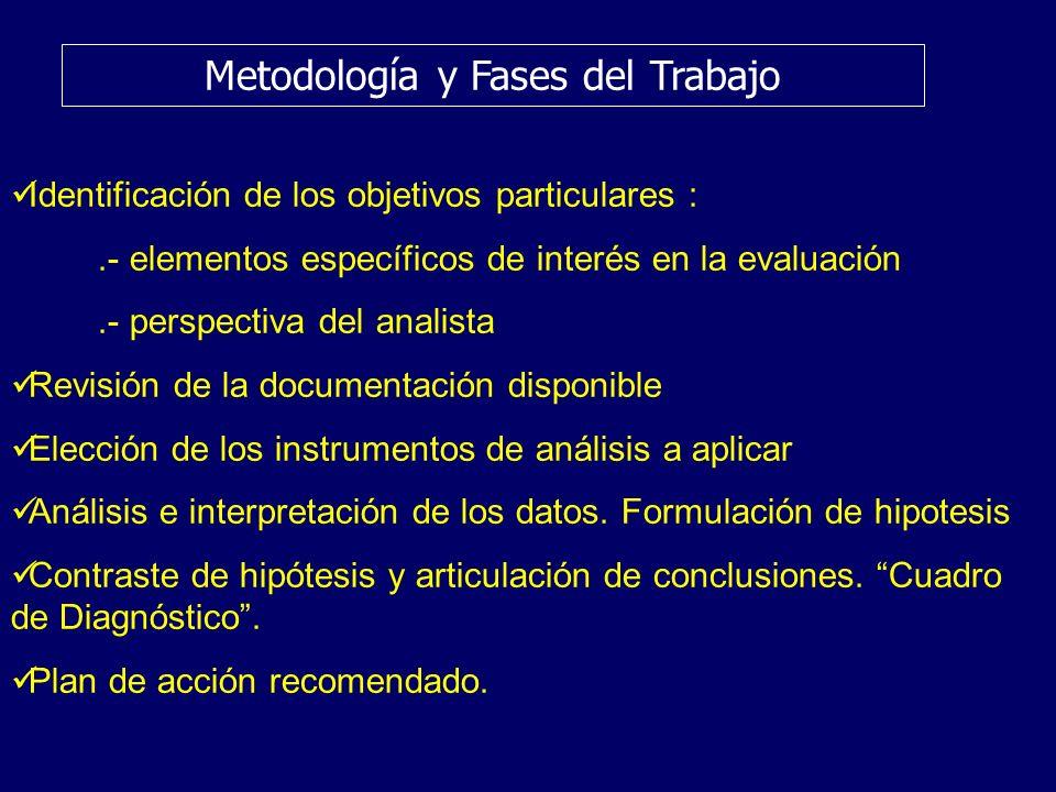 Metodología y Fases del Trabajo Identificación de los objetivos particulares :.- elementos específicos de interés en la evaluación.- perspectiva del a