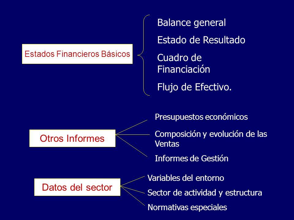 Estados Financieros Básicos Balance general Estado de Resultado Cuadro de Financiación Flujo de Efectivo. Otros Informes Presupuestos económicos Compo