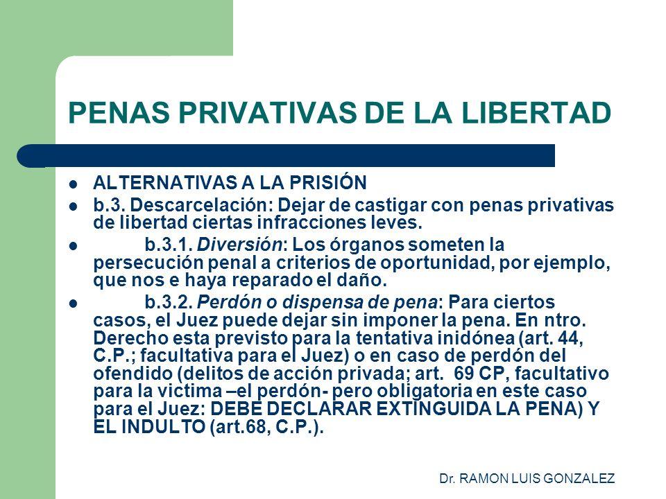 Dr. RAMON LUIS GONZALEZ PENAS PRIVATIVAS DE LA LIBERTAD ALTERNATIVAS A LA PRISIÓN b.3. Descarcelación: Dejar de castigar con penas privativas de liber