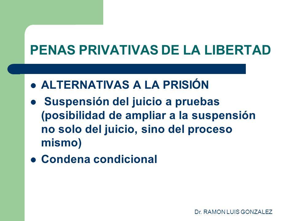 Dr. RAMON LUIS GONZALEZ PENAS PRIVATIVAS DE LA LIBERTAD ALTERNATIVAS A LA PRISIÓN Suspensión del juicio a pruebas (posibilidad de ampliar a la suspens