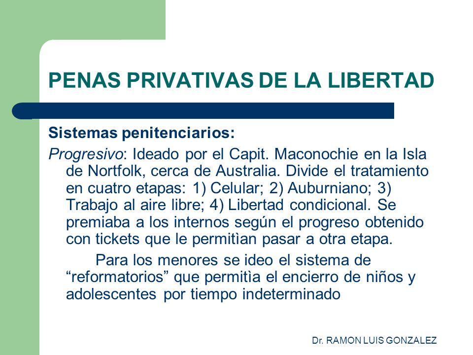 Dr. RAMON LUIS GONZALEZ PENAS PRIVATIVAS DE LA LIBERTAD Sistemas penitenciarios: Progresivo: Ideado por el Capit. Maconochie en la Isla de Nortfolk, c