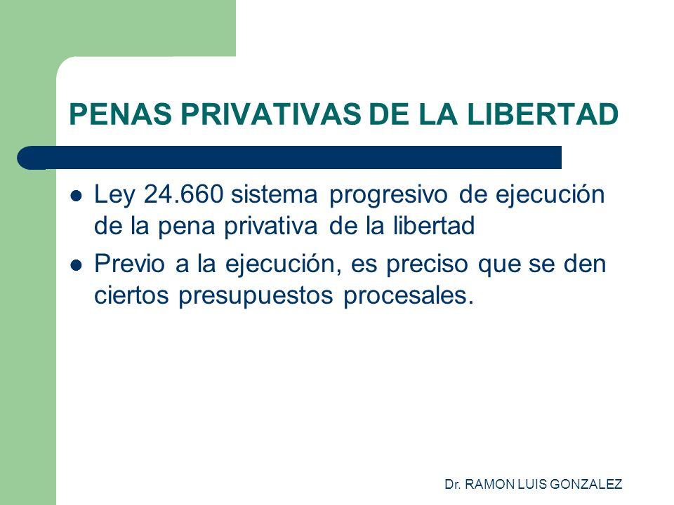 Dr. RAMON LUIS GONZALEZ PENAS PRIVATIVAS DE LA LIBERTAD Ley 24.660 sistema progresivo de ejecución de la pena privativa de la libertad Previo a la eje