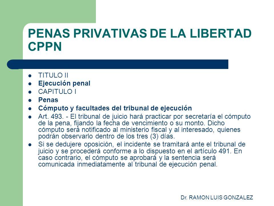 Dr. RAMON LUIS GONZALEZ PENAS PRIVATIVAS DE LA LIBERTAD CPPN TITULO II Ejecución penal CAPITULO I Penas Cómputo y facultades del tribunal de ejecución