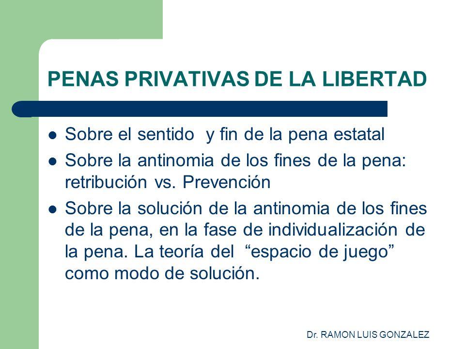 Dr. RAMON LUIS GONZALEZ PENAS PRIVATIVAS DE LA LIBERTAD Sobre el sentido y fin de la pena estatal Sobre la antinomia de los fines de la pena: retribuc