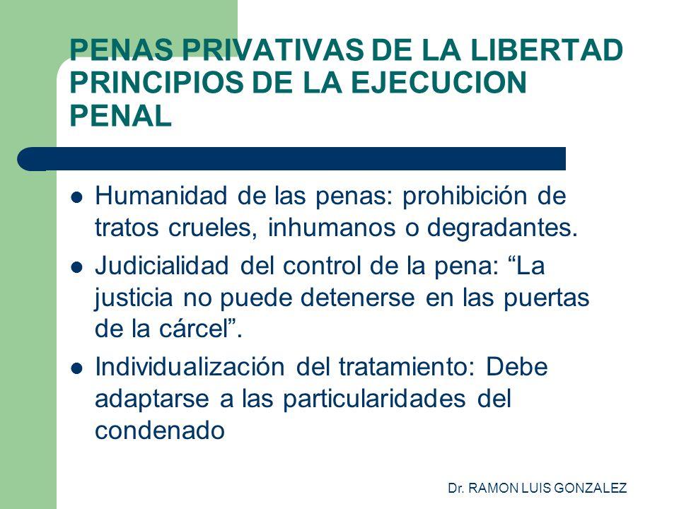 Dr. RAMON LUIS GONZALEZ PENAS PRIVATIVAS DE LA LIBERTAD PRINCIPIOS DE LA EJECUCION PENAL Humanidad de las penas: prohibición de tratos crueles, inhuma