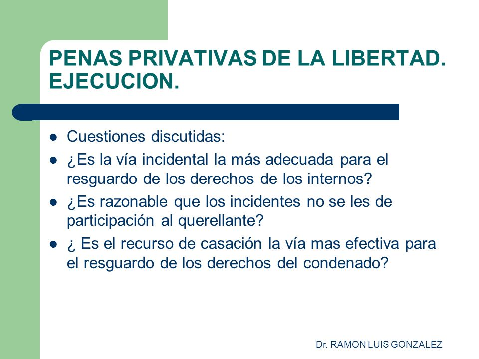 Dr. RAMON LUIS GONZALEZ PENAS PRIVATIVAS DE LA LIBERTAD. EJECUCION. Cuestiones discutidas: ¿Es la vía incidental la más adecuada para el resguardo de