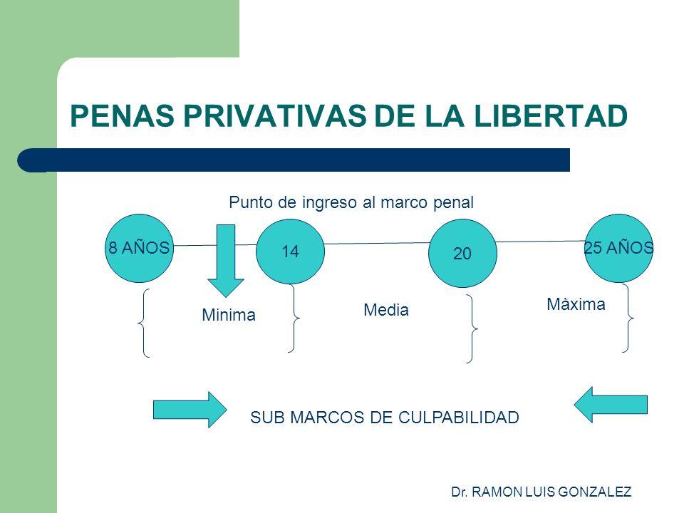 Dr. RAMON LUIS GONZALEZ PENAS PRIVATIVAS DE LA LIBERTAD 8 AÑOS25 AÑOS 14 20 Minima Media Màxima SUB MARCOS DE CULPABILIDAD Punto de ingreso al marco p