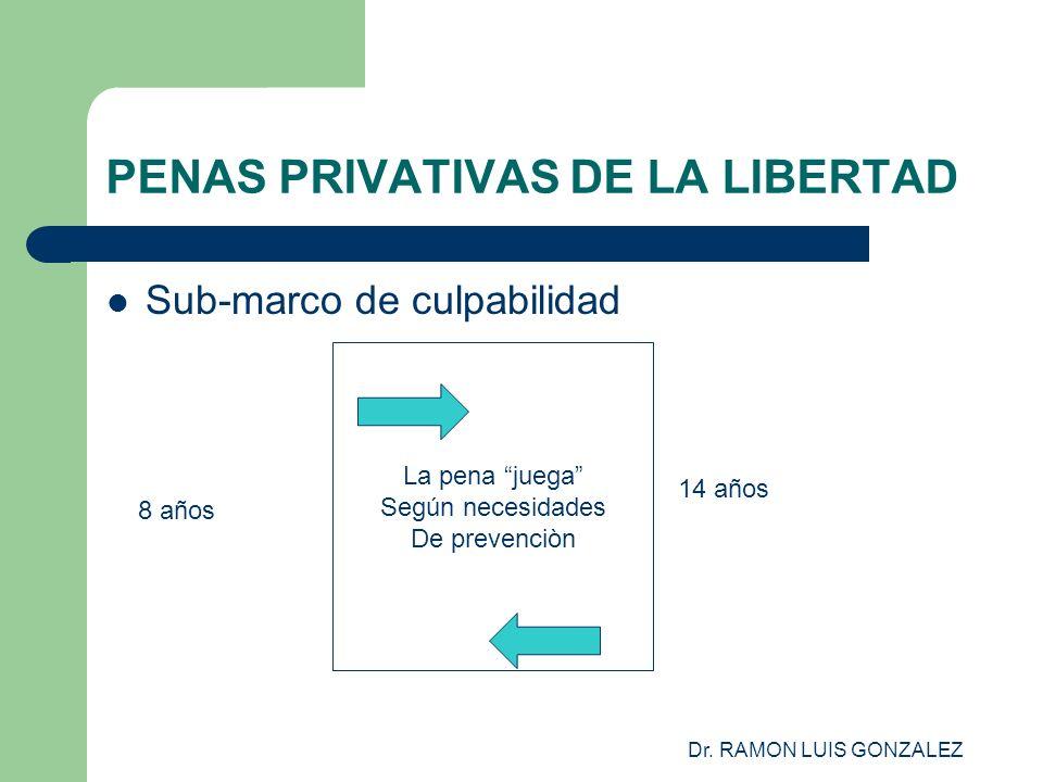 Dr. RAMON LUIS GONZALEZ PENAS PRIVATIVAS DE LA LIBERTAD Sub-marco de culpabilidad La pena juega Según necesidades De prevenciòn 8 años 14 años