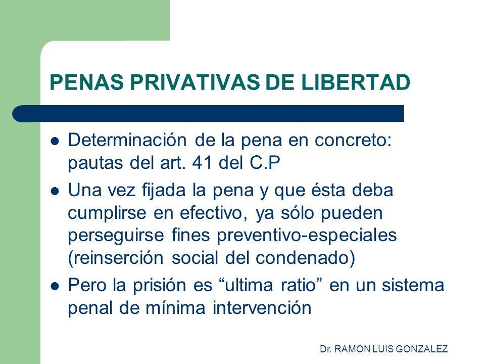 Dr. RAMON LUIS GONZALEZ PENAS PRIVATIVAS DE LIBERTAD Determinación de la pena en concreto: pautas del art. 41 del C.P Una vez fijada la pena y que ést
