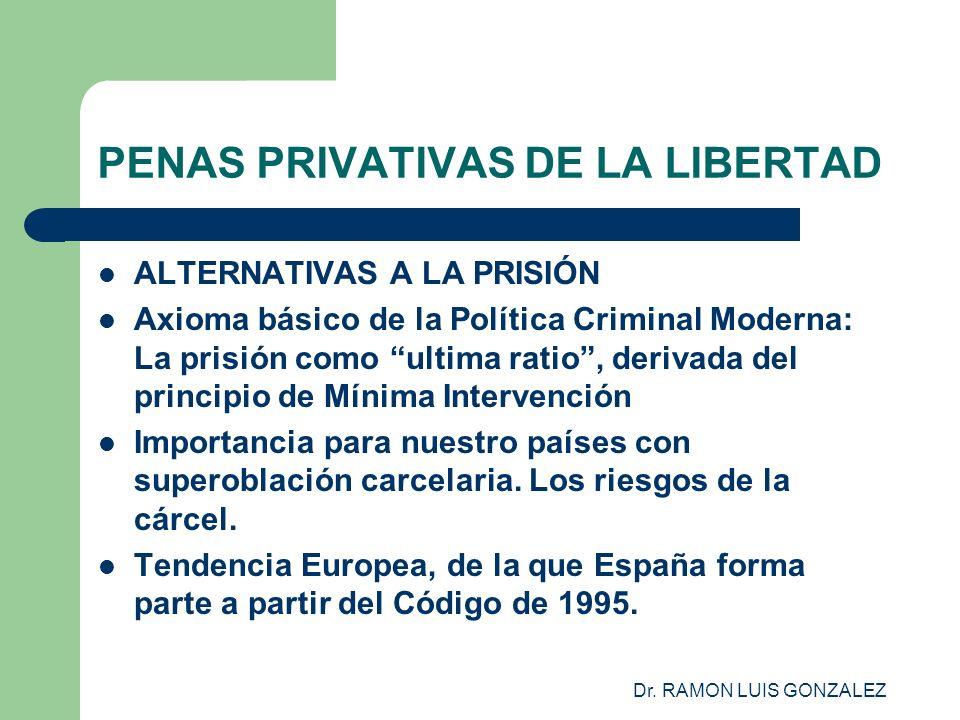 Dr. RAMON LUIS GONZALEZ PENAS PRIVATIVAS DE LA LIBERTAD ALTERNATIVAS A LA PRISIÓN Axioma básico de la Política Criminal Moderna: La prisión como ultim