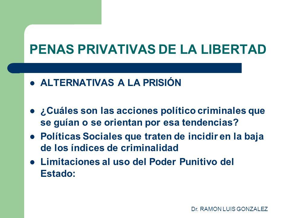 Dr. RAMON LUIS GONZALEZ PENAS PRIVATIVAS DE LA LIBERTAD ALTERNATIVAS A LA PRISIÓN ¿Cuáles son las acciones político criminales que se guían o se orien