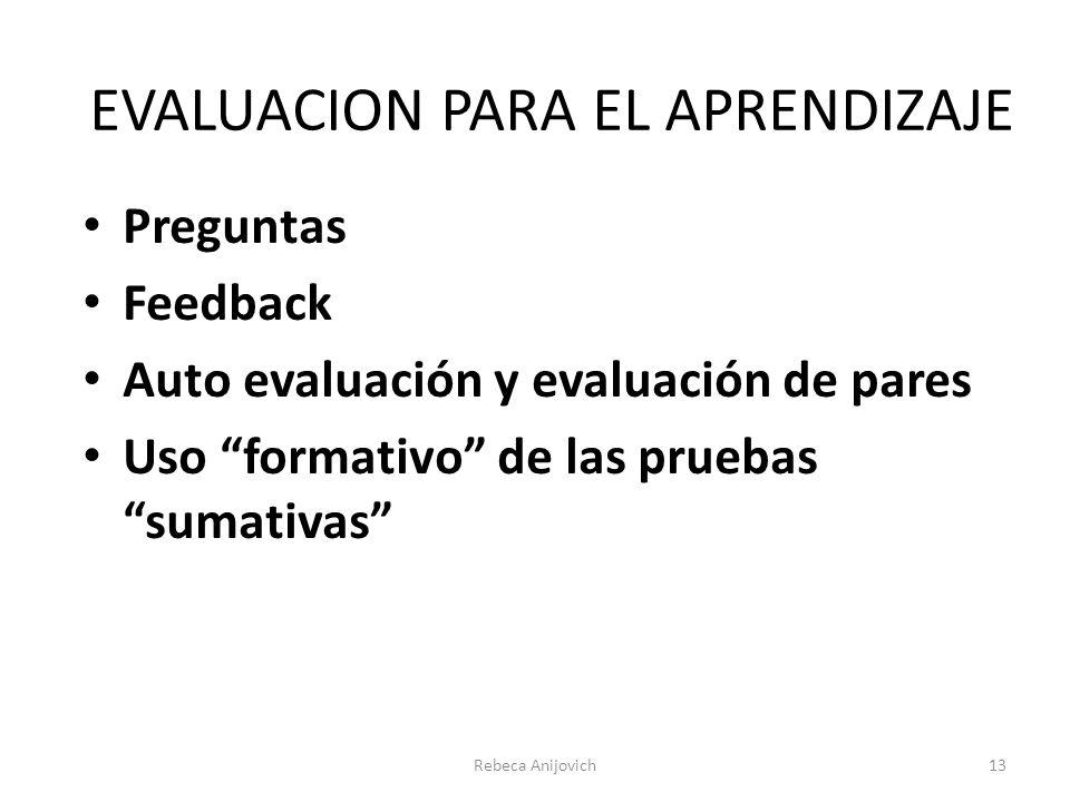 Rebeca Anijovich13 Preguntas Feedback Auto evaluación y evaluación de pares Uso formativo de las pruebas sumativas EVALUACION PARA EL APRENDIZAJE
