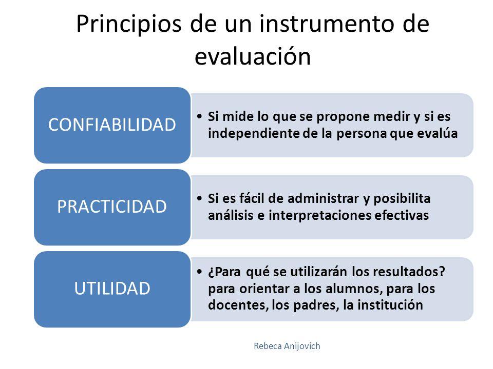 Si mide lo que se propone medir y si es independiente de la persona que evalúa CONFIABILIDAD Si es fácil de administrar y posibilita análisis e interp