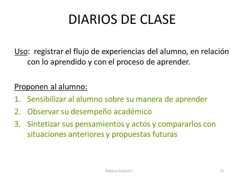 DIARIOS DE CLASE Uso: registrar el flujo de experiencias del alumno, en relación con lo aprendido y con el proceso de aprender. Proponen al alumno: 1.