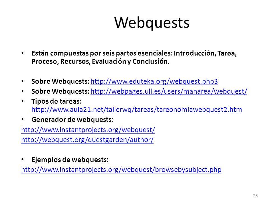 28 Webquests Están compuestas por seis partes esenciales: Introducción, Tarea, Proceso, Recursos, Evaluación y Conclusión. Sobre Webquests: http://www