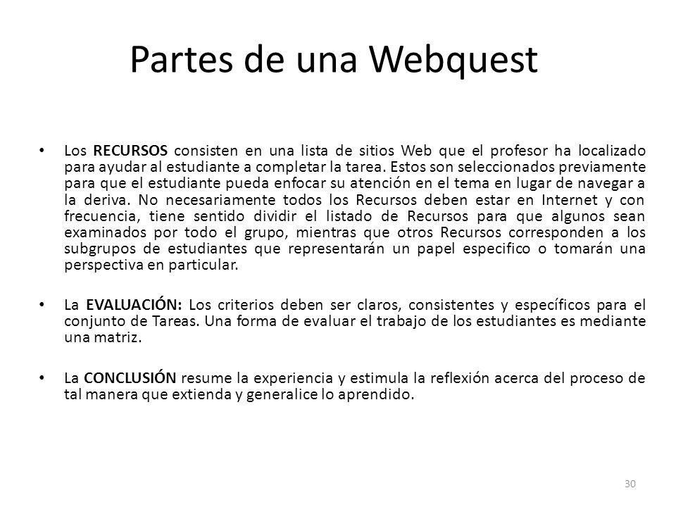 30 Partes de una Webquest Los RECURSOS consisten en una lista de sitios Web que el profesor ha localizado para ayudar al estudiante a completar la tarea.