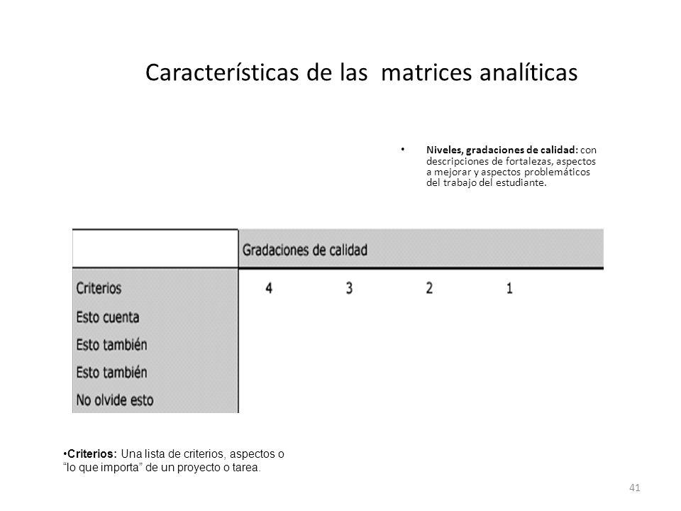 41 Características de las matrices analíticas Niveles, gradaciones de calidad: con descripciones de fortalezas, aspectos a mejorar y aspectos problemáticos del trabajo del estudiante.