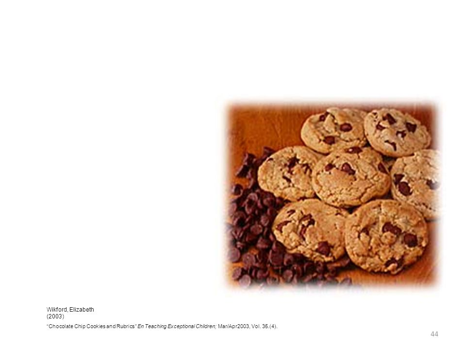 44 Wikford, Elizabeth (2003) Chocolate Chip Cookies and Rubrics En Teaching Exceptional Children; Mar/Apr2003, Vol. 35.(4).