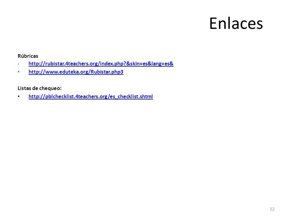 52 Enlaces Rúbricas http://rubistar.4teachers.org/index.php?&skin=es&lang=es& http://www.eduteka.org/Rubistar.php3 Listas de chequeo: http://pblchecklist.4teachers.org/es_checklist.shtml