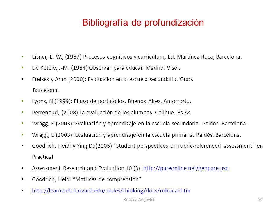 Eisner, E. W., (1987) Procesos cognitivos y curriculum, Ed. Martínez Roca, Barcelona. De Ketele, J-M. (1984) Observar para educar. Madrid. Visor. Frei