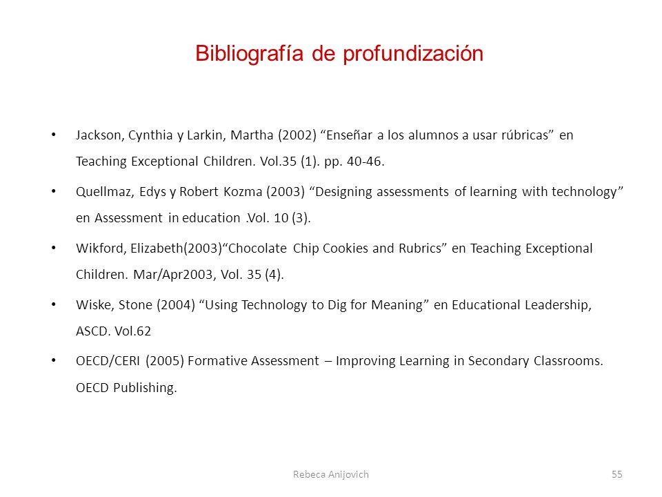 Jackson, Cynthia y Larkin, Martha (2002) Enseñar a los alumnos a usar rúbricas en Teaching Exceptional Children.