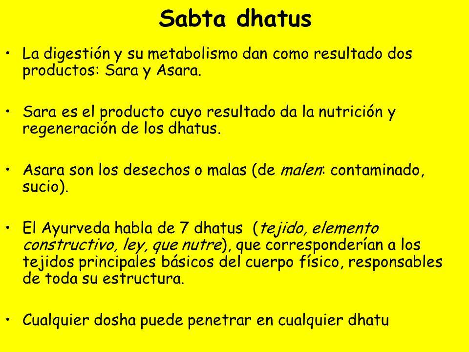 Sabta dhatus La digestión y su metabolismo dan como resultado dos productos: Sara y Asara. Sara es el producto cuyo resultado da la nutrición y regene