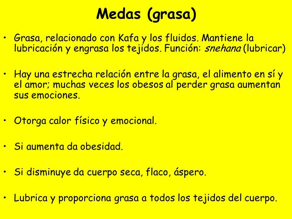 Medas (grasa) Grasa, relacionado con Kafa y los fluidos. Mantiene la lubricación y engrasa los tejidos. Función: snehana (lubricar) Hay una estrecha r