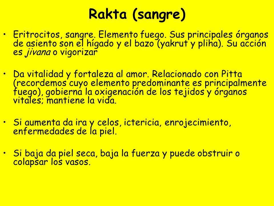 Rakta (sangre) Eritrocitos, sangre. Elemento fuego. Sus principales órganos de asiento son el hígado y el bazo (yakrut y pliha). Su acción es jivana o