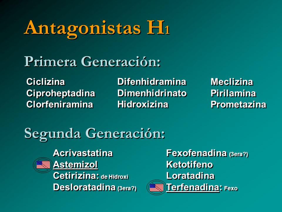 Antagonistas H 1 Primera Generación: Segunda Generación: Ciclizina Ciproheptadina Clorfeniramina Ciclizina Ciproheptadina Clorfeniramina Difenhidramin