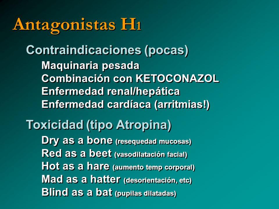 Antagonistas H 1 Contraindicaciones (pocas) Maquinaria pesada Combinación con KETOCONAZOL Enfermedad renal/hepática Enfermedad cardíaca (arritmias!) M
