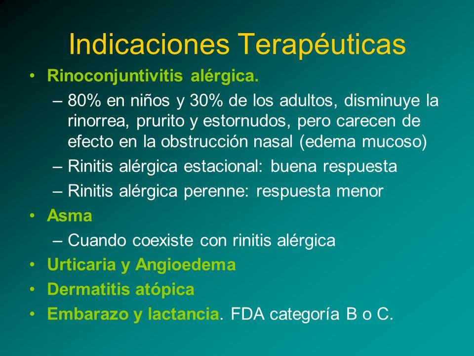 Indicaciones Terapéuticas Rinoconjuntivitis alérgica. –80% en niños y 30% de los adultos, disminuye la rinorrea, prurito y estornudos, pero carecen de